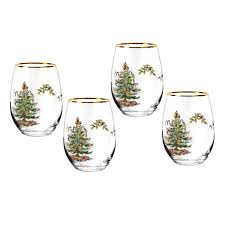 christmas glasses spode christmas tree 16 oz stemless wine glasses set of spode usa