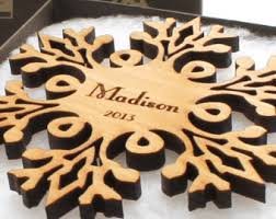 wood ornament laser cut snowflake design made from
