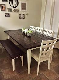 kitchen table sets with bench image result for antiqued white table with dark woo legs house