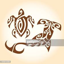 tribal turtle and hammerhead shark tattoos vector art getty images