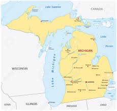 Michigan State Campus Map Simple Michigan State Map Royalty Free Cliparts Vectors And