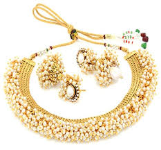 earring necklace set gold images Youbella exclusive gold plated pearl studded traditional temple jpg