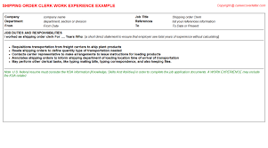 Order Resume Shipping Order Clerk Cv Work Experience