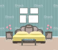 bedroom living room interior design in flat style including