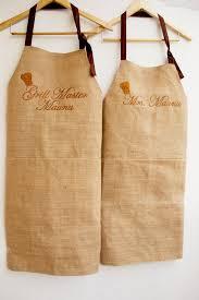 wedding registry for men monogrammed burlap apron set 2 custom women men aprons kitchen