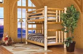 Cottage Log Bunk Bed Log Furniture And More - Wood bunk beds canada