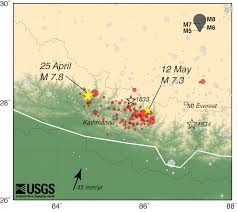 United States Earthquake Map by Magnitude 7 8 Earthquake In Nepal Aftershocks
