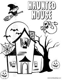 printable spooky house drawn haunted house coloring page pencil and in color drawn