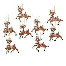kurt adler 4 wooden santa s reindeer ornament kurt