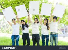 young people holding big white board stock photo 474109324