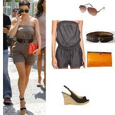 kim kardashian celebrity look for less tan romper u0026 black cork