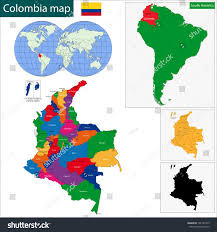 Cordoba World Map by Map Republic Colombia Regions Colored Bright Stock Vector