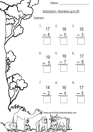 subtraction to 20 worksheets worksheets