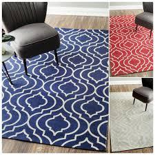 Flat Rug Flat Weave Modern Geometric Printed Trellis Various Colors Cotton Rug