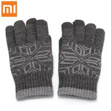 orignal xiaomi wool finger touch gloves for male gray