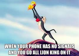 Lion King Cell Phone Meme - when your phone has no signal phone lions and humour