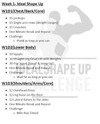 Challenge Up Ideal Shape Up Challenge Week 1 Day 4 7 Fitness Health