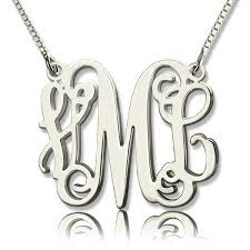monogrammed silver necklace personalized monogram initial necklace sterling silver