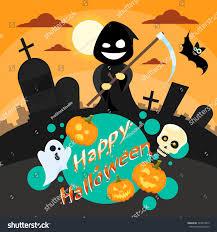 halloween cartoon grim reaper smile hold stock vector 323814035