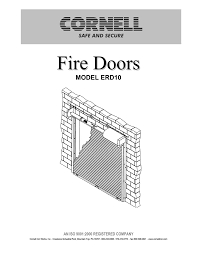 Cornell Overhead Doors by Cornell Fire Door O And M Manual