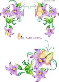 4 designer purple butterfly flower border vector material