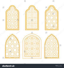 set ornamental windows arabic style greeting stock vector