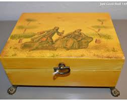 Yellow Decorative Box 1800s Jewelry Box Etsy