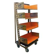 Industrial Kitchen Cart by Vintage Industrial Orange Shelving Storage Carts At 1stdibs