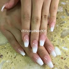 coffin uv gel nails with ombré manicure nails vickysnails