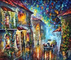 the streets at night u2014 palette knife oil painting on canvas by