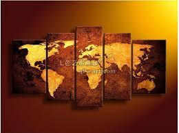 Decorative World Map Handmade 5 Pieces Modern Abstract Decorative World Map Pictures