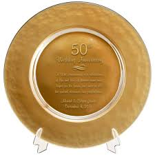 personalized anniversary plate gold glass 50th anniversary plate
