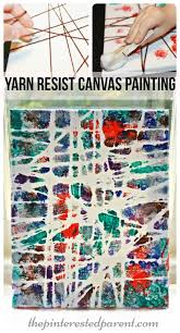 yarn resist canvas painting kid u0027s arts and crafts project arts