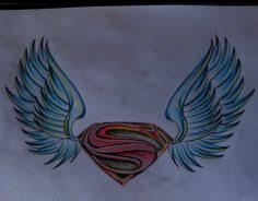 manofsteel logo sketch colored superman wings pencil