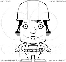 lineart clipart of a cartoon black and white happy block headed