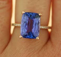 tanzanite ring rose gold engagement ring gia certified lavender