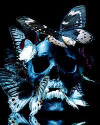 paper lantern skulls and butterflies