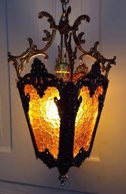 hollywood regency swag l vintage mid century modern retro hanging swag l amber glass
