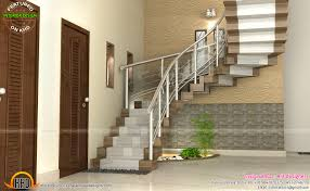 modular kitchen bedroom and staircase interior kerala home