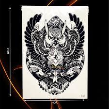 1pc new cool design geometry flying owl tattoo sleeve b398 men