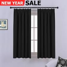 black blackout curtains bedroom ponydance solid thermal insulated pencil pleat blackout curtains for