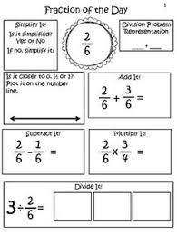 fraction of the day grade 5 fractions pinterest fractions
