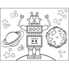 robot planets coloring