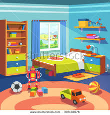 boy room big window suffused light stock vector 307102676