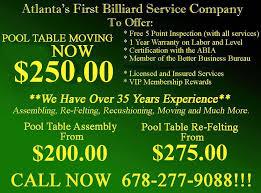 pool table movers atlanta pool table service specialists crane s billiard service