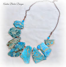 metal necklace designs images Blue jasper stone copper metal necklace chunky and lightweight JPG
