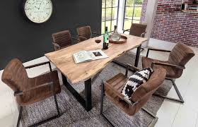 Esszimmertisch Oval Schwarz Esstisch Esszimmertisch Tischplatte Akazie Massiv Mit Baumkante
