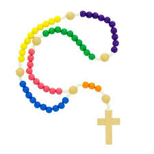 children s rosary wood multi colored children s corded rosary the catholic company