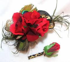 Wedding Wrist Corsage Red Rose Flower Prom Wedding Wrist Corsage And Boutonniere Set