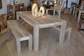 rustic varnished oak wood dining table with double benches in pink